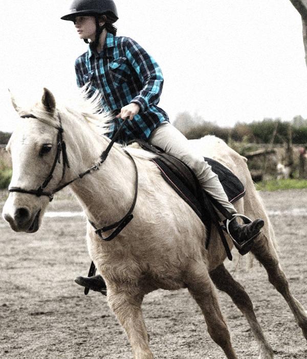 white horse riding